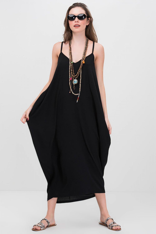 8282cfacf6d04 Cool & Sexy Askılı Siyah Salaş Uzun Elbise | ElbiseBul
