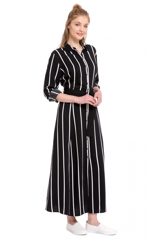 3eb3da995a950 Lc Waikiki Black Strıped Çizgili Viskon Uzun Gömlek Elbise   ElbiseBul
