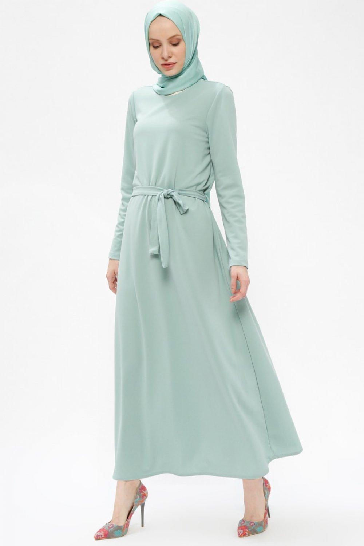 040e579157d18 Miss Paye Mint Yeşili Bisiklet Yakalı Elbise | ElbiseBul