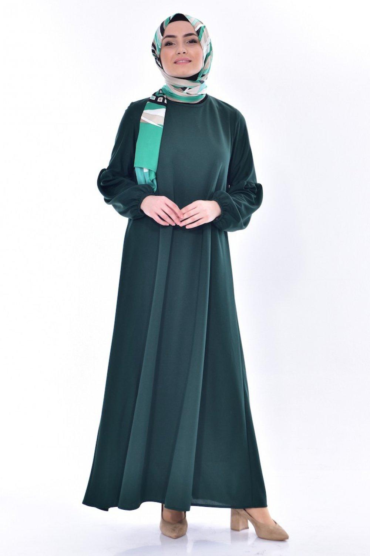 06c4a5f7f4f59 Sefamerve Zümrüt Yeşili Kolu Lastikli Elbise | ElbiseBul