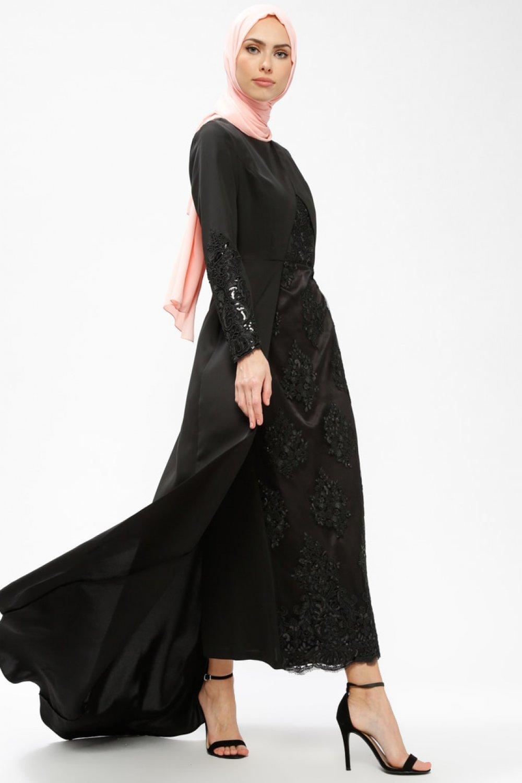 1af8eb9782da6 Armine Siyah Arkası Uzun Payetli Abiye Elbise | ElbiseBul