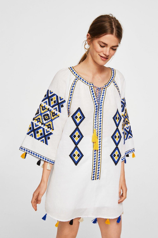 8c0f4e936b3e6 Mango Kırık Beyaz İşlemeli Keten Mini Elbise   ElbiseBul