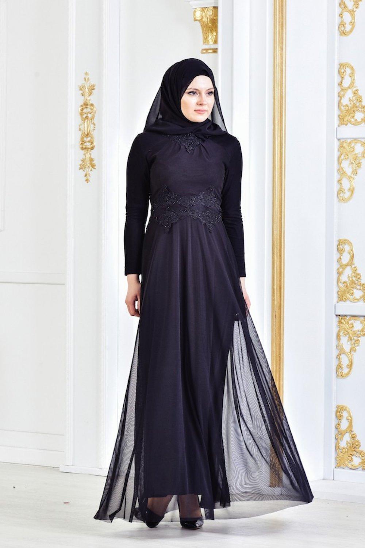 d18cc4ea3656f Sefamerve Siyah Güpürlü Taşlı Abiye Elbise | ElbiseBul