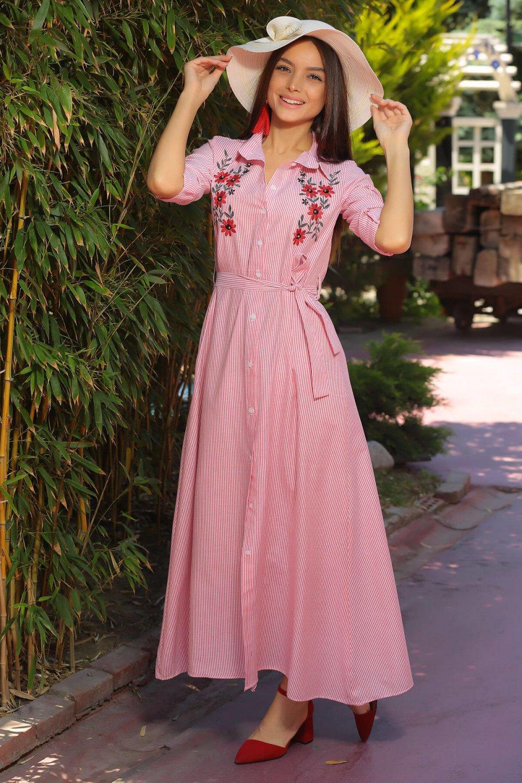 5cb6b4ef09121 Size Özel Saygı Kırmızı Çizgili Çift Nakışlı Uzun Gömlek Elbise ...