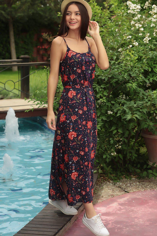 35359fbc8cd57 Size Özel Saygı Lacivert İp Askılı Çiçek Desen Kuşaklı Astarsız Uzun Elbise