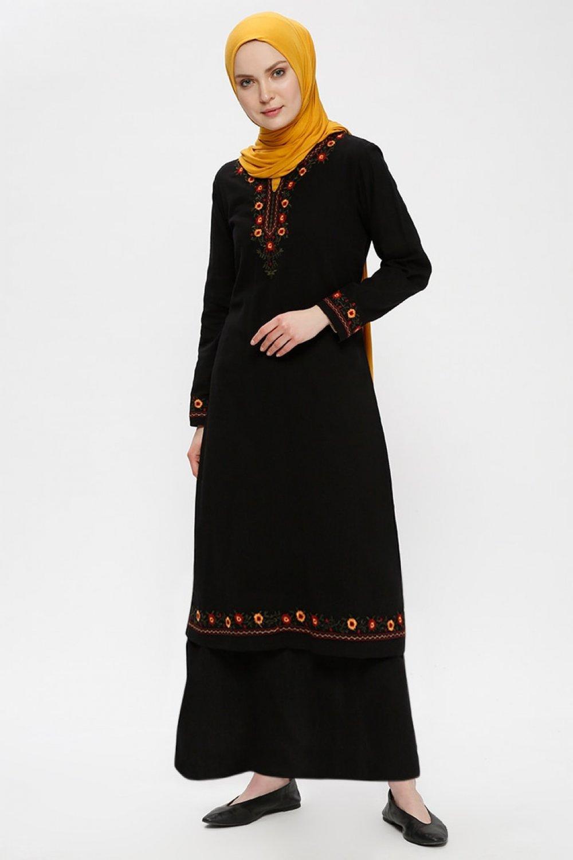 fae7d2f39ea2c Çıkrıkçı Siyah Şile Bezi Nakışlı Elbise | ElbiseBul