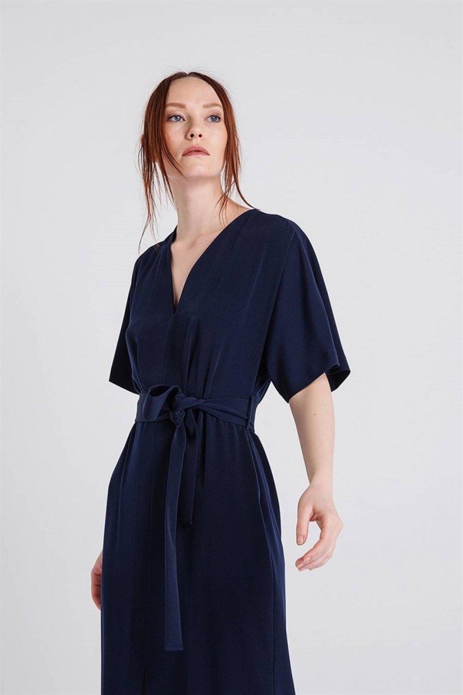84863f435f501 Rue Lacivert V Yaka Kısa Kollu Uzun Elbise | ElbiseBul