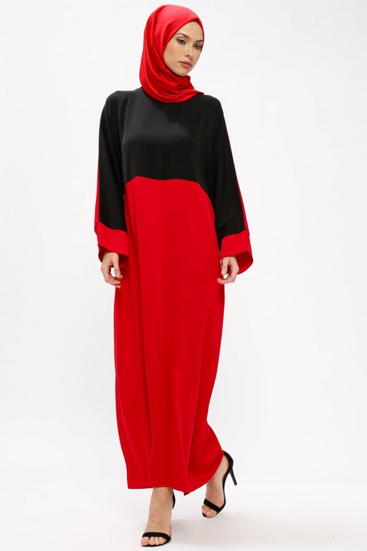 21508b0cdc164 Tuncay Bordo Siyah İki Renkli Elbise | ElbiseBul