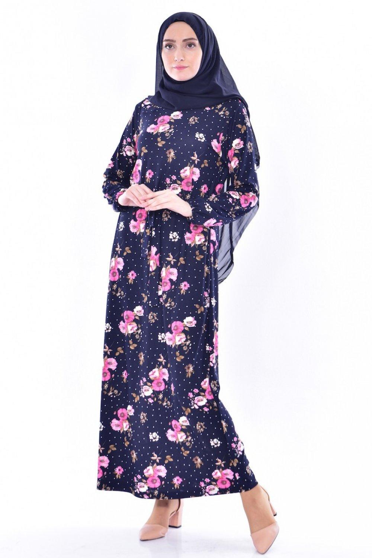 2aa90413cfd6f Sefamerve Çiçek Desenli Kuşaklı Elbise El9704-02 Lacivert | ElbiseBul