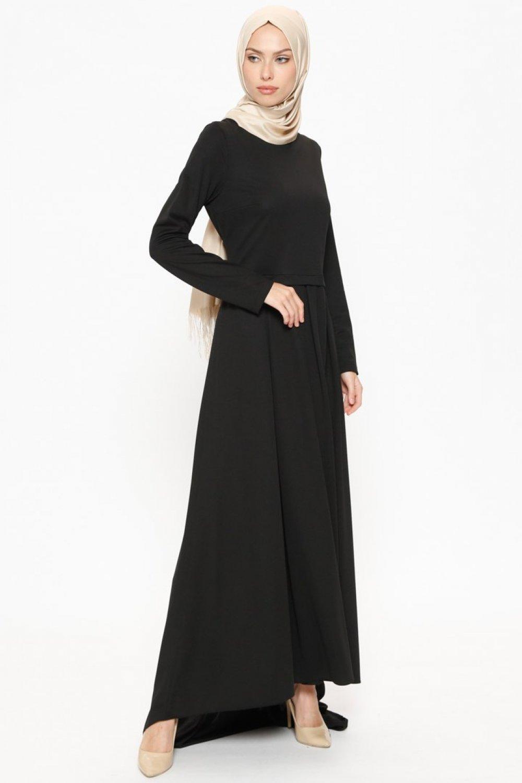 6e9773fc9fb1e Butik Neşe Siyah Pileli Kuyruklu Abiye Elbise | ElbiseBul