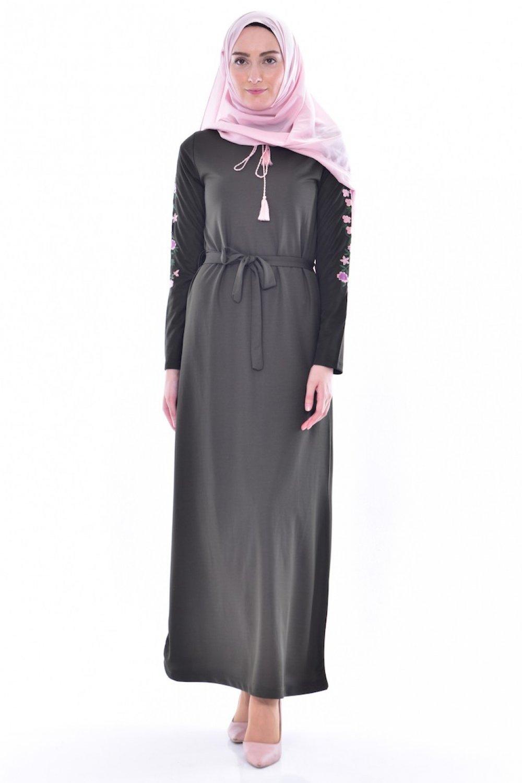ecbcee72d3284 Sefamerve Haki Yeşil Kolu Nakışlı Elbise | ElbiseBul