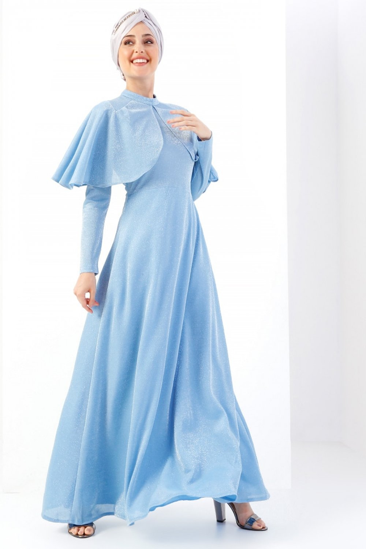 58b11b77b9bf9 Refka Mavi Kendinden Simli Abiye Elbise | ElbiseBul