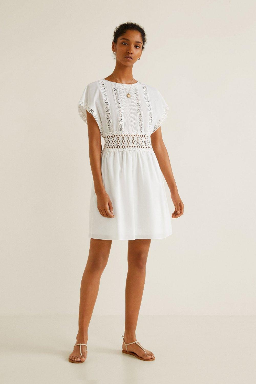 be5ee9c08f186 Mango Kırık Beyaz Güpür Parçalı Mini Elbise   ElbiseBul