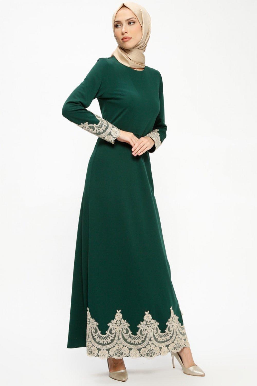 224afa8573490 MEKSİLA Yeşil Güpür Detaylı Abiye Elbise | ElbiseBul