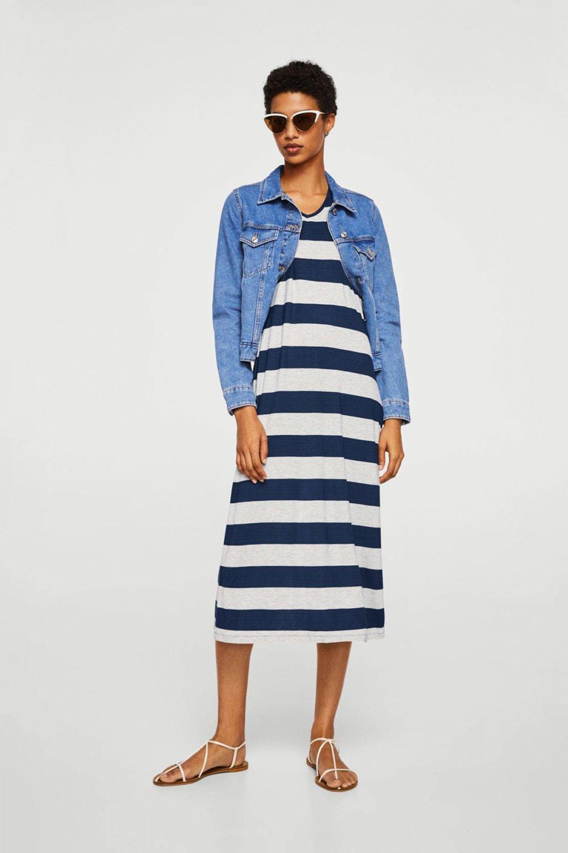 8a46903706fd3 Mango Woman Uzun Dokuma Orta Kırçıllı Gri Elbise | ElbiseBul