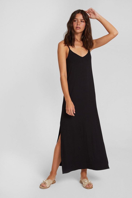 83950af3afb2d Oxxo Siyah V Yaka İnce Askılı Yırtmaç Detaylı Uzun Elbise   ElbiseBul