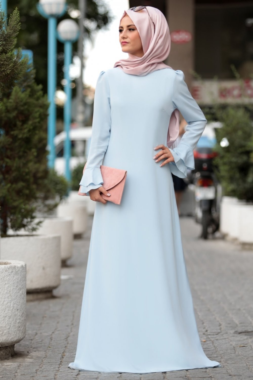 bf1f3101cda27 Sure Tesettür Bebe Mavi Volan Detaylı Abiye Elbise | ElbiseBul