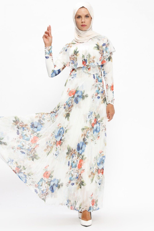52990c55e8ce1 Loreen By Puane Ekru Çiçek Desenli Şifon Elbise | ElbiseBul