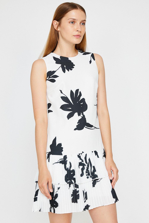 586081f108a92 Koton Desenli Kırık Beyaz Mini Elbise | ElbiseBul