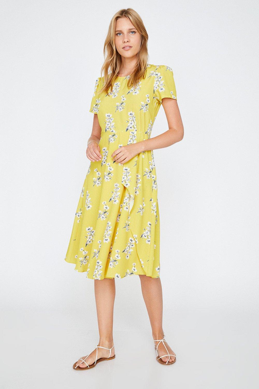 cf12b8e7fab9d Koton Çiçek Desenli Sarı Midi Elbise   ElbiseBul