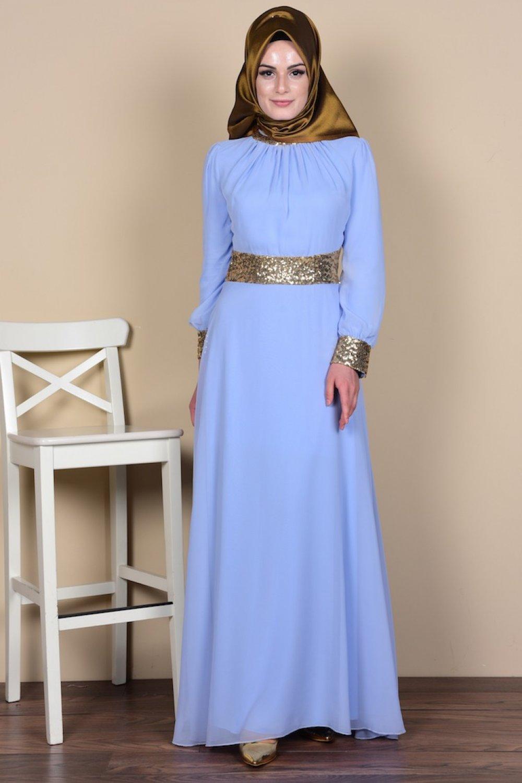0b3470e40263c Sefamerve Bebe Mavi Bebek Mavisi İşlemeli Şifon Abiye Elbise | ElbiseBul