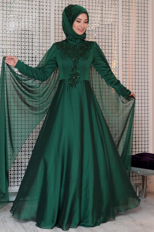 0dfbcea6e25f6 Efkeyem Yeşil Güpür Detaylı Abiye Elbise | ElbiseBul