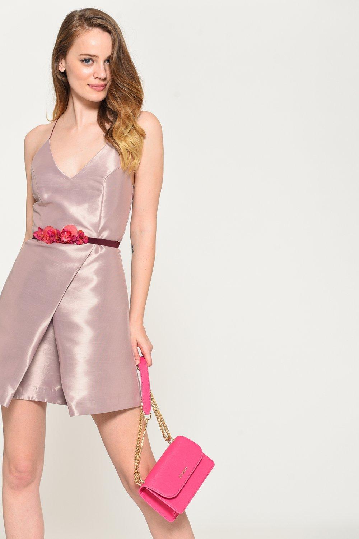 2838aa2ad06d1 Loves You Pudra İp Askılı Tafta Mini Abiye Elbise | ElbiseBul