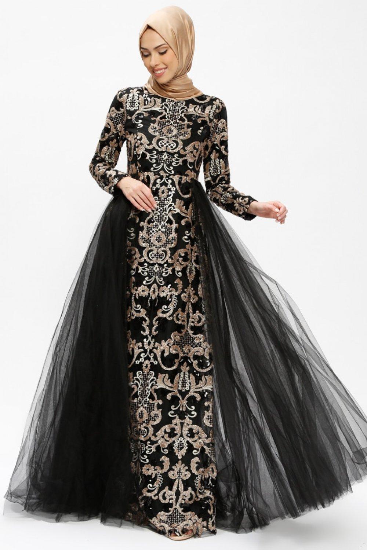 28d2cd1700cd1 Lâl By Hilal Siyah Sultan Abiye Elbise | ElbiseBul