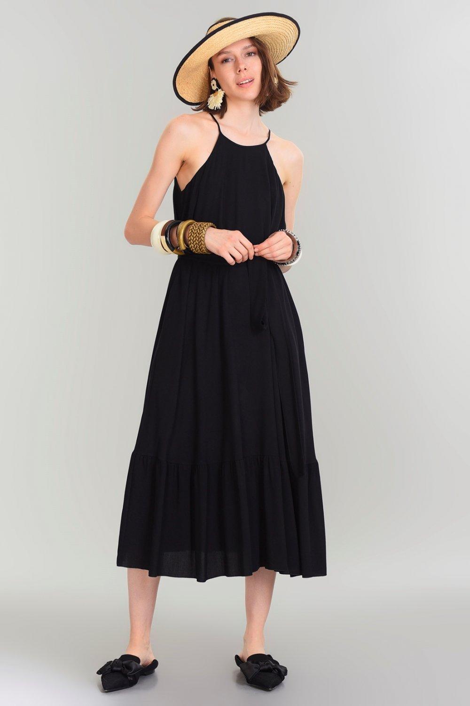 4607f0f05e32f People By Fabrika Askılı Siyah Midi Elbise | ElbiseBul