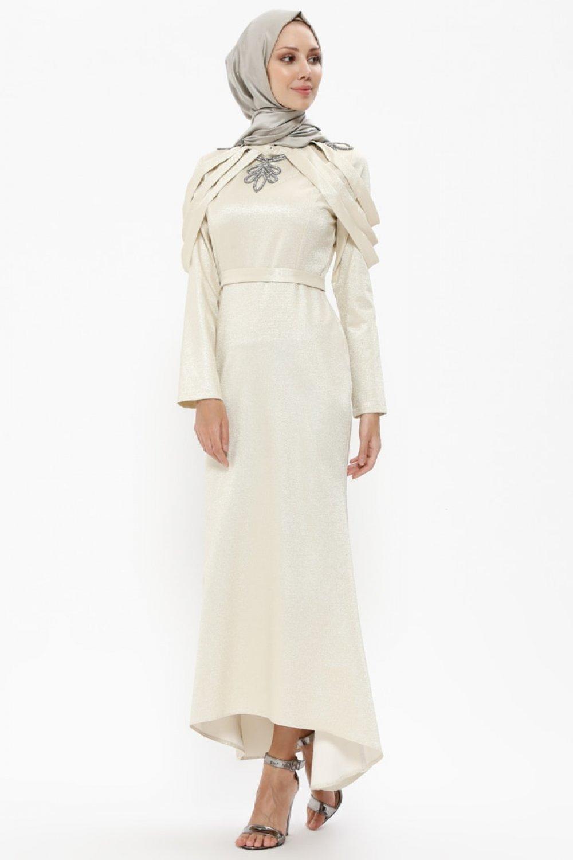 1411303e71d57 BÜRÜN Bej Kendinden Simli Taşlı Abiye Elbise | ElbiseBul