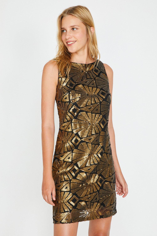 626b9d67bd050 Koton Desenli Altın Rengi Mini Elbise | ElbiseBul