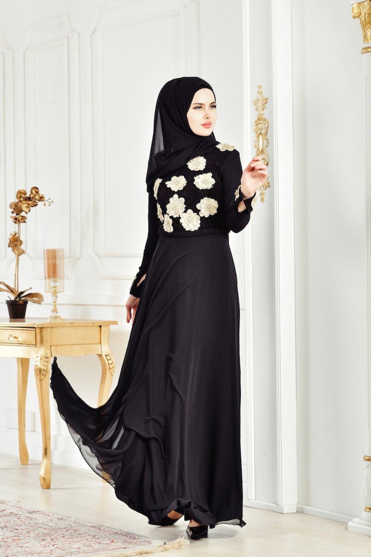 56bb8af8bbe55 Sefamerve Siyah Çiçek Aplikeli Abiye Elbise | ElbiseBul