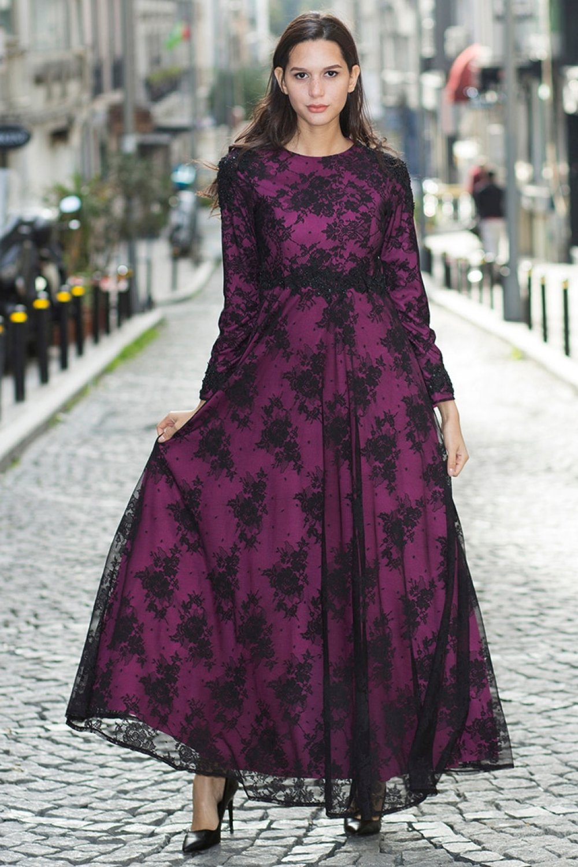 e528705a600cb MODAYSA Siyah Mürdüm Güpür Aplikli Dantel Abiye Elbise | ElbiseBul