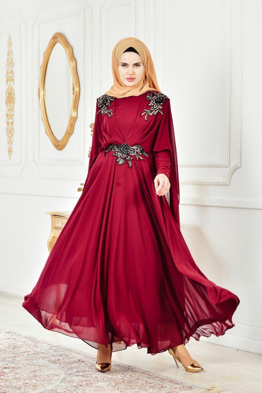 3c960dbfbb371 Sefamerve Bordo Dantelli Şifon Abiye Elbise   ElbiseBul