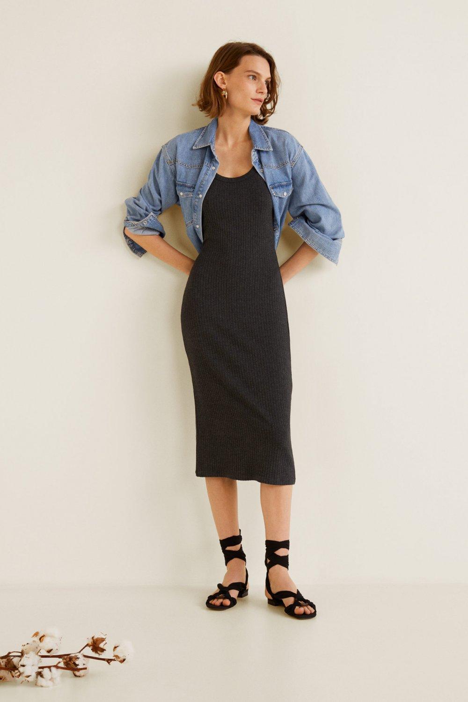 e04f4b6710198 Mango Orta Kırçıllı Gri Lastikli Jarse Midi Elbise | ElbiseBul