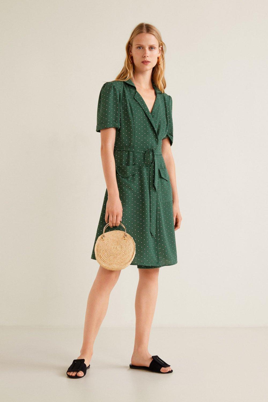 550a8d8743d68 Mango Koyu Yeşil Desenli Anvelop Kesim Midi Elbise | ElbiseBul
