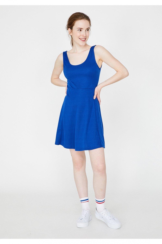 1c9f96f067f62 Koton Saks Mavisi Askılı Kloş Mini Elbise | ElbiseBul