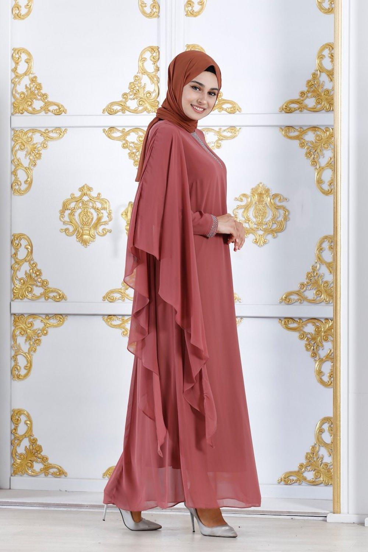 373026c756ca4 Sefamerve Vizon Büyük Beden Şifon Detaylı Abiye Elbise | ElbiseBul