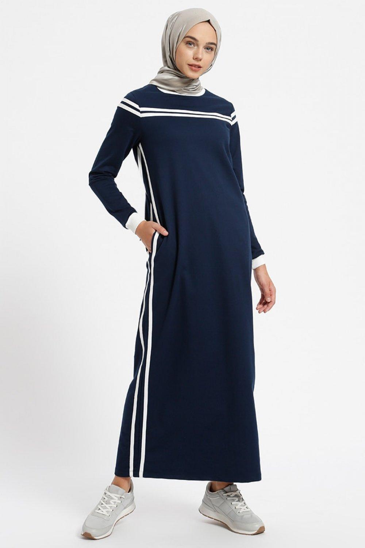 4e15cee2d7495 Benin Lacivert Doğal Kumaşlı Cep Detaylı Elbise | ElbiseBul