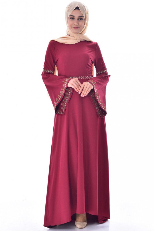 66f7a7f4ac94f Sefamerve Bordo Nakışlı Abiye Elbise | ElbiseBul