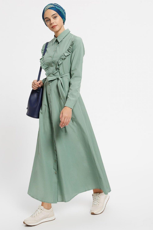 7810dc4bff68d Benin Zeytin Yeşili Cepli Boydan Düğmeli Elbise | ElbiseBul
