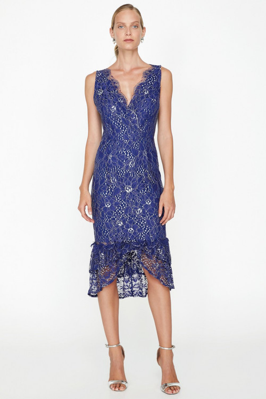 d63364f6c7b07 Koton Dantel Detaylı Saks Mavi Midi Abiye Elbise | ElbiseBul