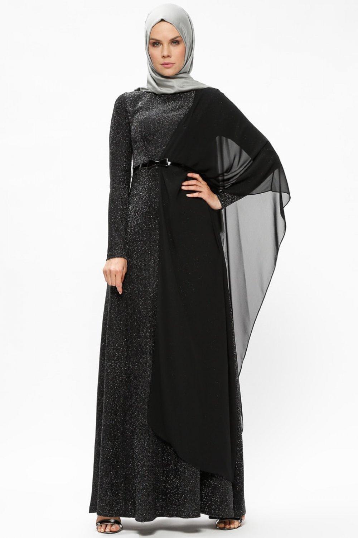 2f39d5d049659 Puane Siyah Kendinden Simli Şifon Parçalı Abiye Elbise | ElbiseBul