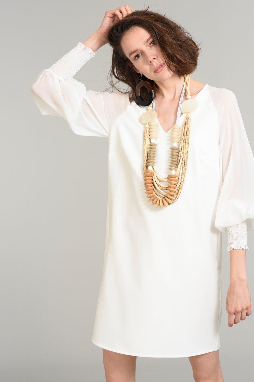 318b454ba84b8 People By Fabrika Beyaz Şifon Kollu Mini Elbise | ElbiseBul