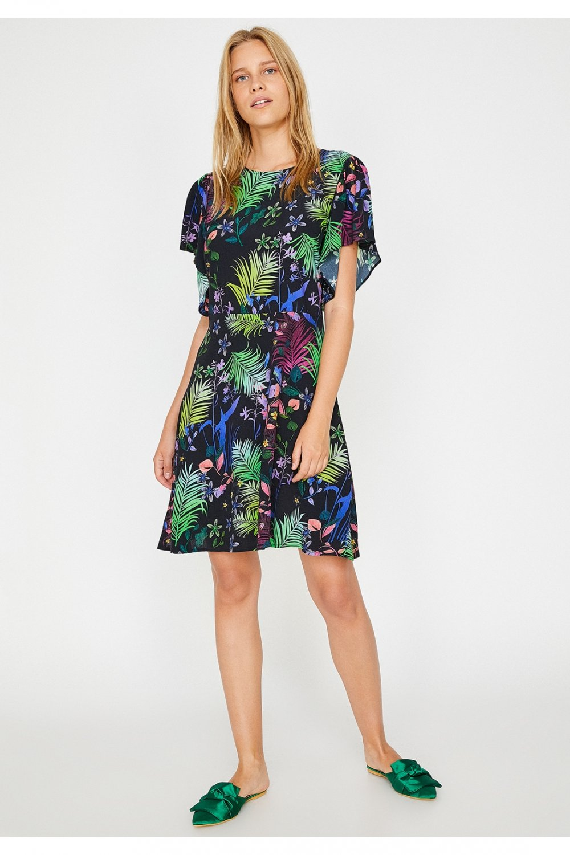 ba556208bc91b Koton Black Design Kısa Kollu Çiçekli Mini Elbise   ElbiseBul