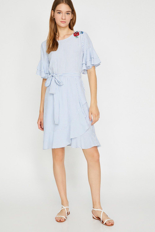 1fcdb704b0ece Koton Beli Bağlamalı Mavi Çizgili Mini Elbise | ElbiseBul