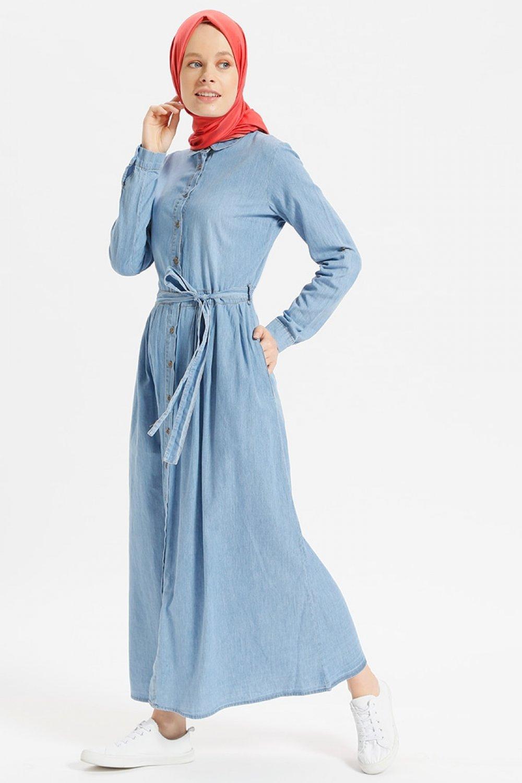 365ef117d3bda Benin Açık Mavi Doğal Kumaşlı Boydan Düğmeli Kot Elbise | ElbiseBul