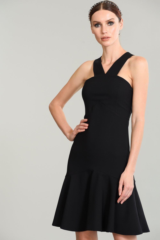 fe6c29bb1fa9d People By Fabrika Askılı Siyah Eteği Volanlı Mini Elbise | ElbiseBul