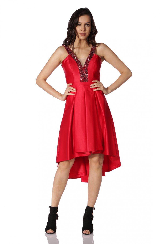 4b33871b65b7f 6ixty8ight Askılı Kırmızı Midi Asimetrik Abiye Elbise   ElbiseBul