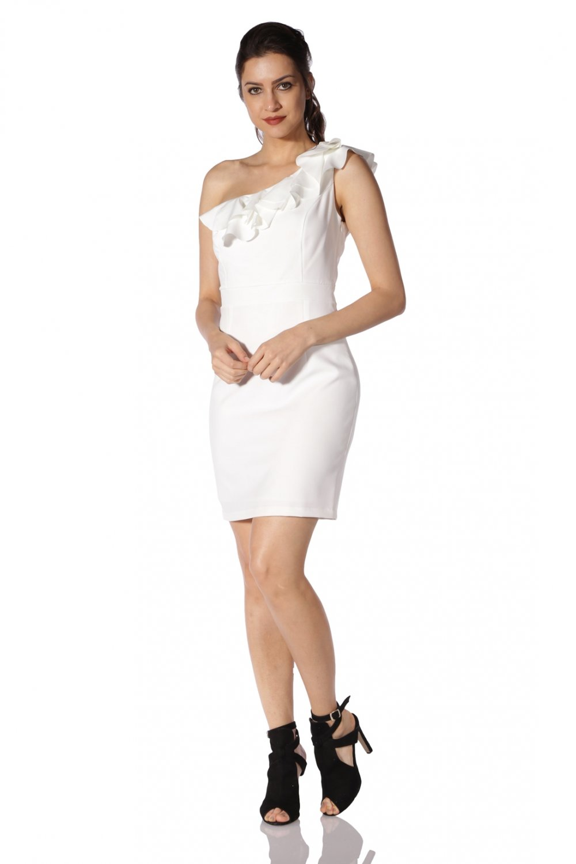 80dc6bb0abbb6 6ixty8ight Tek Omuzlu Beyaz Mini Abiye Elbise | ElbiseBul